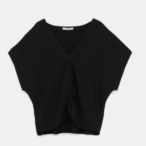 ZARA Structured Front Knot Tee
